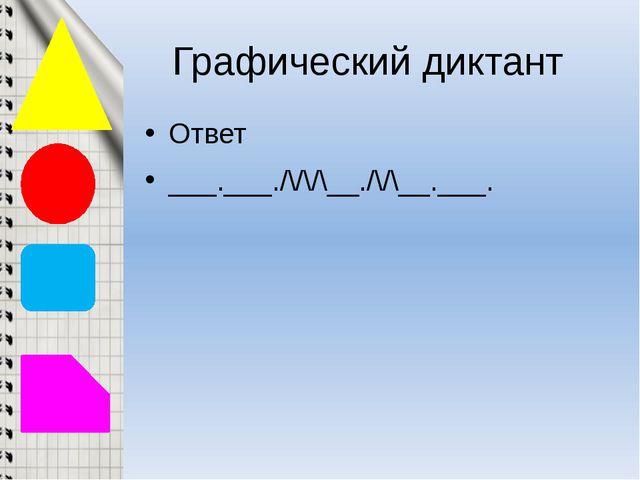 Графический диктант Ответ ___.___./\/\/\__./\/\__.___.