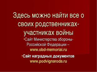 Сайт Министерства обороны- Российской Федерации – www.obd-memoriai.ru Сайт на
