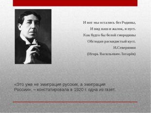 «Это уже не эмиграция русских, а эмиграция России», – констатировала в 1920 г