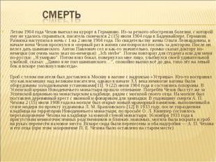 Летом 1904 года Чехов выехал на курорт в Германию. Из-за резкого обострения