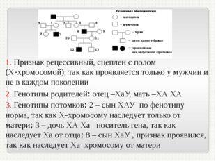 1. Признак рецессивный, сцеплен с полом (Х-хромосомой), так как проявляется т