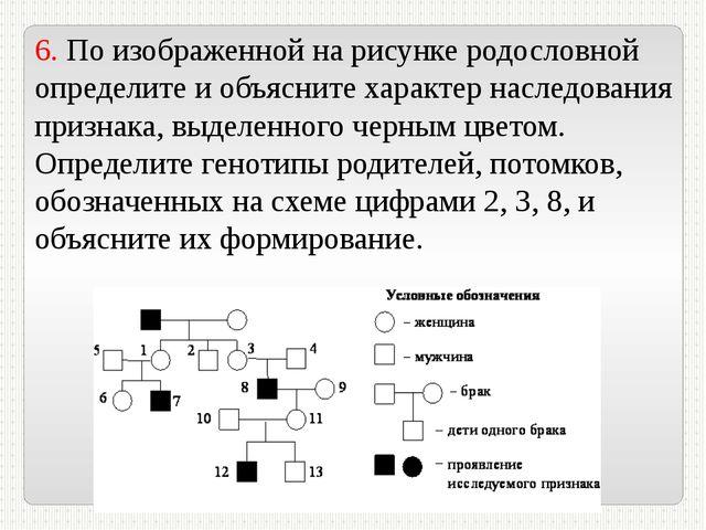 6. По изображенной на рисунке родословной определите и объясните характер нас...