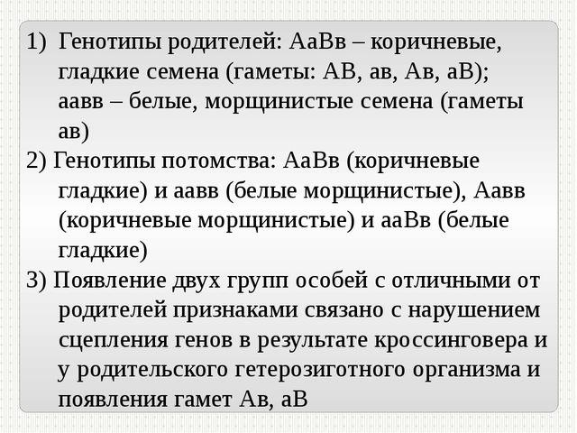 Генотипы родителей: АаВв – коричневые, гладкие семена (гаметы: АВ, ав, Ав, аВ...