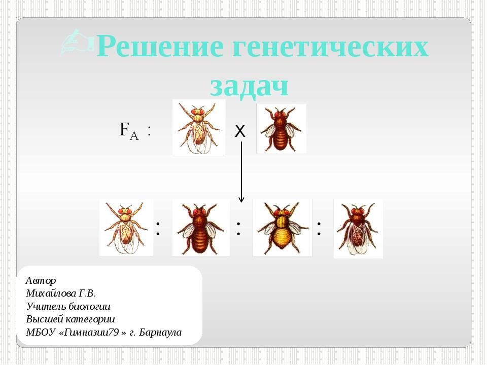 Решение генетических задач Автор Михайлова Г.В. Учитель биологии Высшей катег...