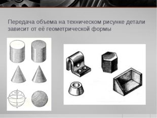 Передача объема на техническом рисунке детали зависит от её геометрической фо