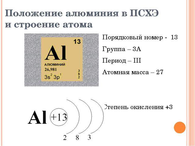 Положение алюминия в ПСХЭ и строение атома Порядковый номер - 13 Группа – 3А...