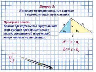 Вопрос 5: Назовите пропорциональные отрезки в прямоугольном треугольнике а2
