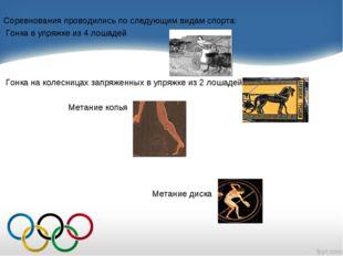 Соревнования проводились по следующим видам спорта: Гонка в упряжке из 4 лоша