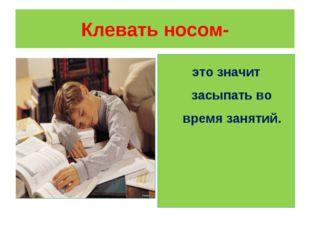 Клевать носом- это значит засыпать во время занятий.