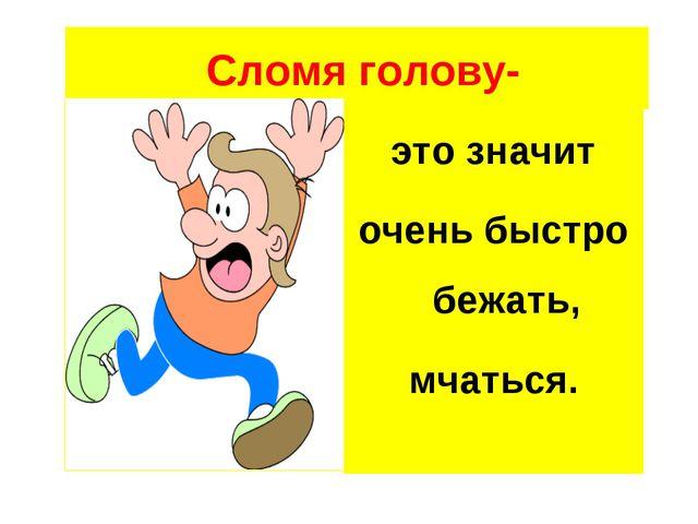 Сломя голову- это значит очень быстро бежать, мчаться.