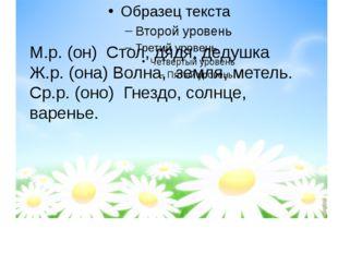 М.р. (он) Стол, дядя, дедушка Ж.р. (она) Волна, земля, метель. Ср.р. (оно) Г