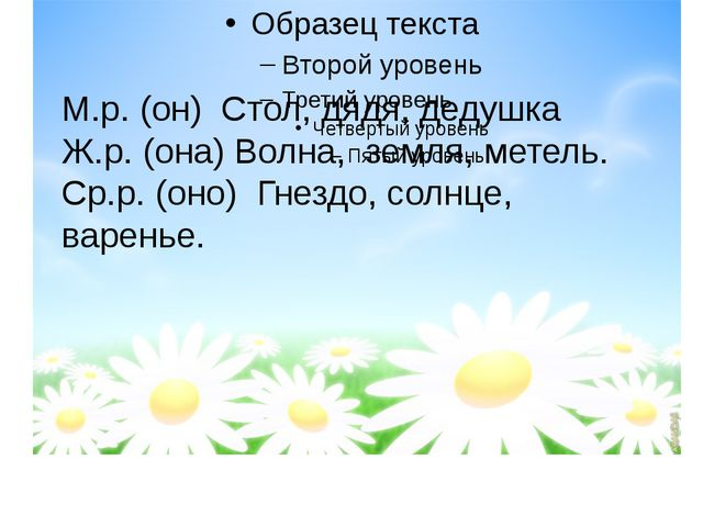 М.р. (он) Стол, дядя, дедушка Ж.р. (она) Волна, земля, метель. Ср.р. (оно) Г...