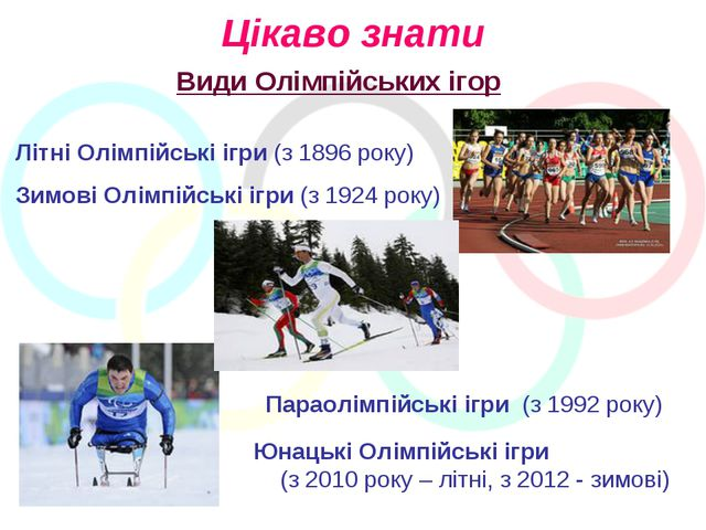 Цікаво знати Види Олімпійських ігор Літні Олімпійські ігри (з 1896 року) Зимо...