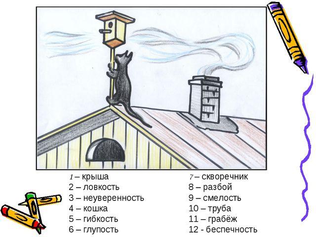 1 – крыша 2 – ловкость 3 – неуверенность 4 – кошка 5 – гибкость 6 – глупость...