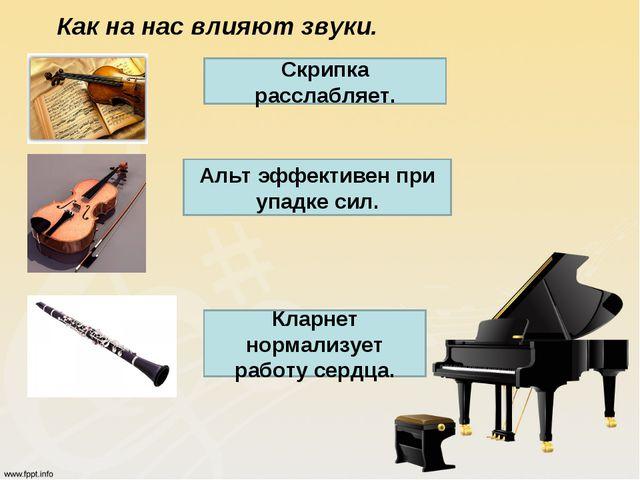 Как на нас влияют звуки. Скрипка расслабляет. Альт эффективен при упадке сил....