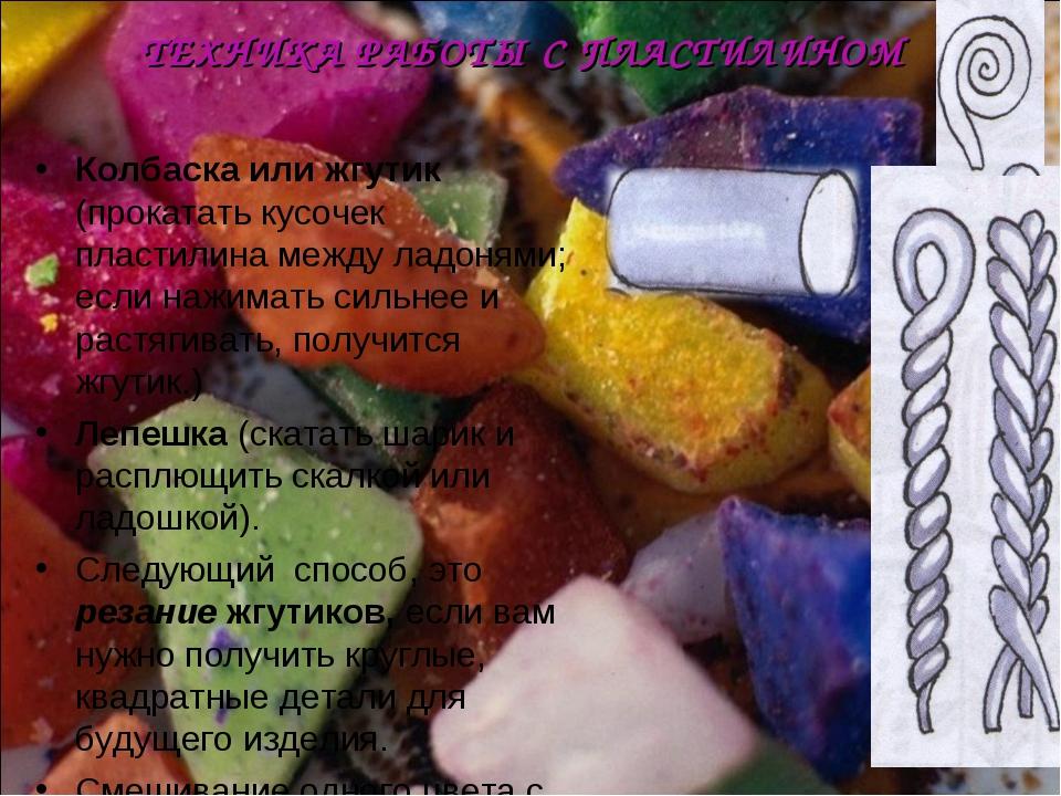 Колбаска или жгутик (прокатать кусочек пластилина между ладонями; если нажима...