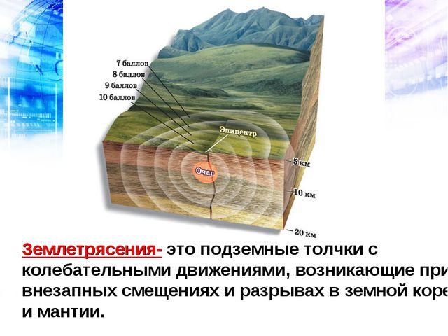 Землетрясения- это подземные толчки с колебательными движениями, возникающие...