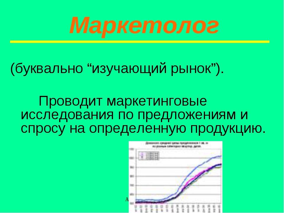 """Абизяева В.Н. (буквально """"изучающий рынок""""). Проводит маркетинговые исследо..."""