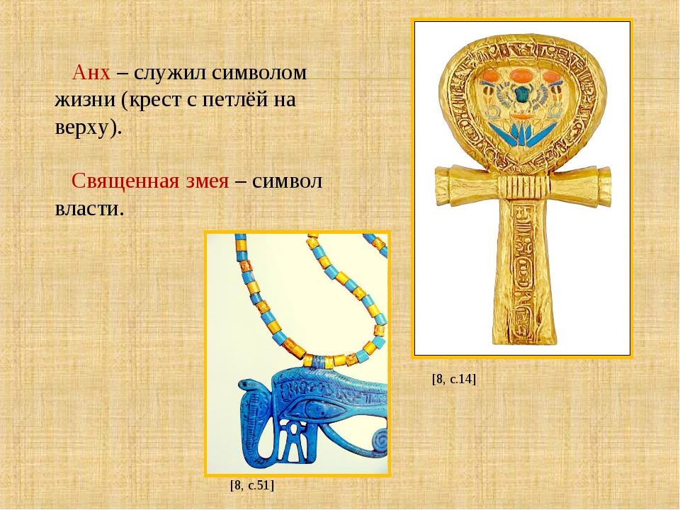 Анх – служил символом жизни (крест с петлёй на верху). Священная змея – симв...