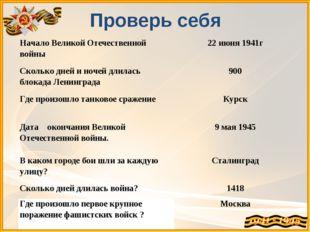Проверь себя Начало Великой Отечественной войны22 июня 1941г Сколько дней и