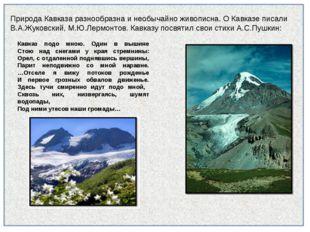 Природа Кавказа разнообразна и необычайно живописна. О Кавказе писали В.А.Жук