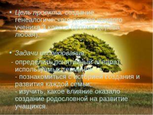 Цель проекта: создание генеалогического дерева каждого ученика 3 класса (форм