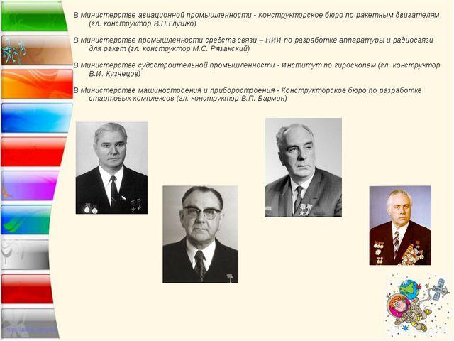 В Министерстве авиационной промышленности - Конструкторское бюро по ракетным...