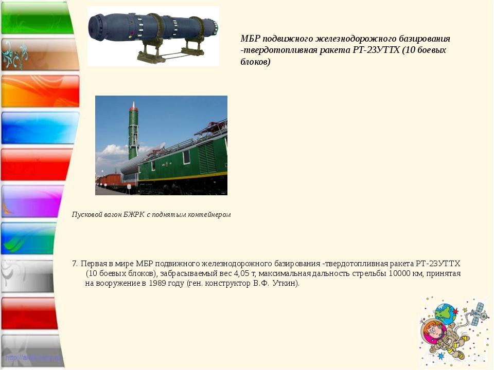 Пусковой вагон БЖРК с поднятым контейнером  7.Первая в мире МБР подвижного...