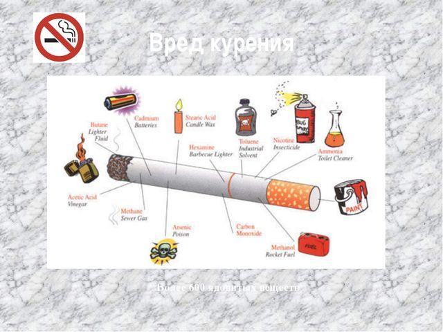 Вред курения Более 600 ядовитых веществ