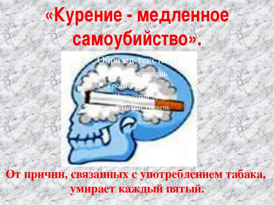 «Курение - медленное самоубийство». От причин, связанных с употреблением таба...