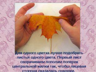 Для одного цветка лучше подобрать листья одного цвета. Первый лист сворачивае
