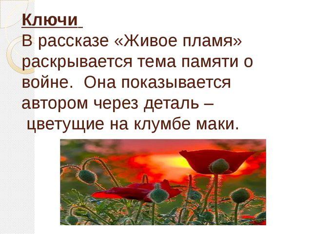 Ключи В рассказе «Живое пламя» раскрывается тема памяти о войне. Она показыва...