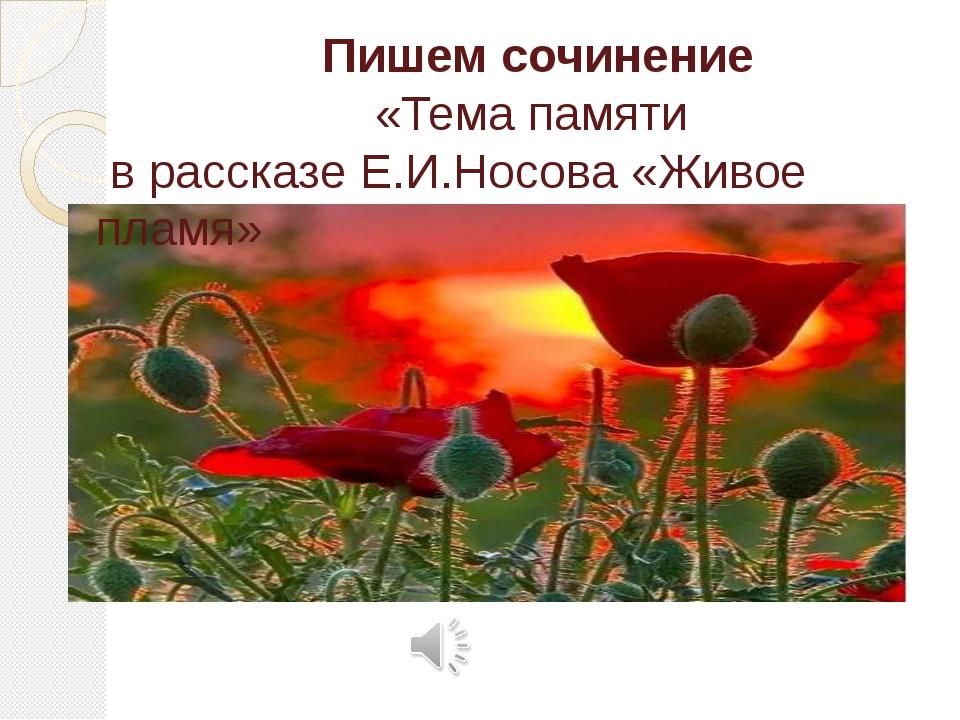 Пишем сочинение «Тема памяти в рассказе Е.И.Носова «Живое пламя»