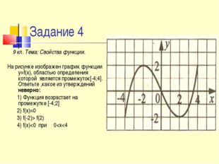 Задание 4 9 кл. Тема: Свойства функции. На рисунке изображен график функции y