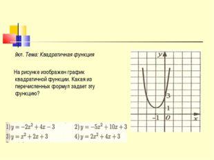 9кл. Тема: Квадратичная функция На рисунке изображен график квадратичной фун
