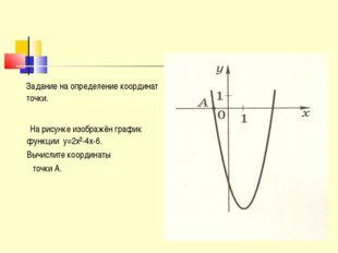 Задание на определение координат точки. На рисунке изображён график функции
