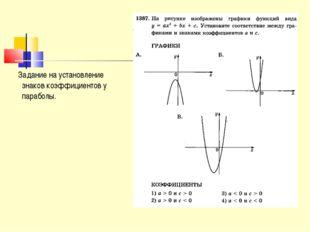Задание на установление знаков коэффициентов у параболы.