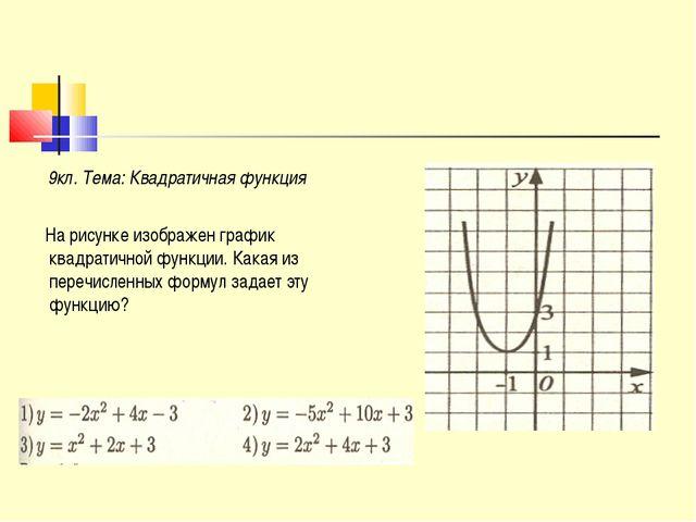 9кл. Тема: Квадратичная функция На рисунке изображен график квадратичной фун...