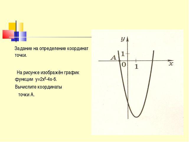 Задание на определение координат точки. На рисунке изображён график функции...