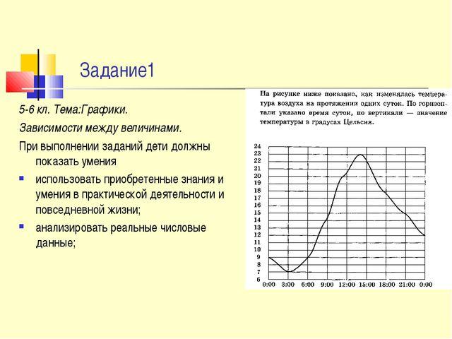 Задание1 5-6 кл. Тема:Графики. Зависимости между величинами. При выполнении...