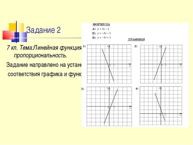 Задание 2 7 кл. Тема:Линейная функция.Прямая пропорциональность. Задание напр...