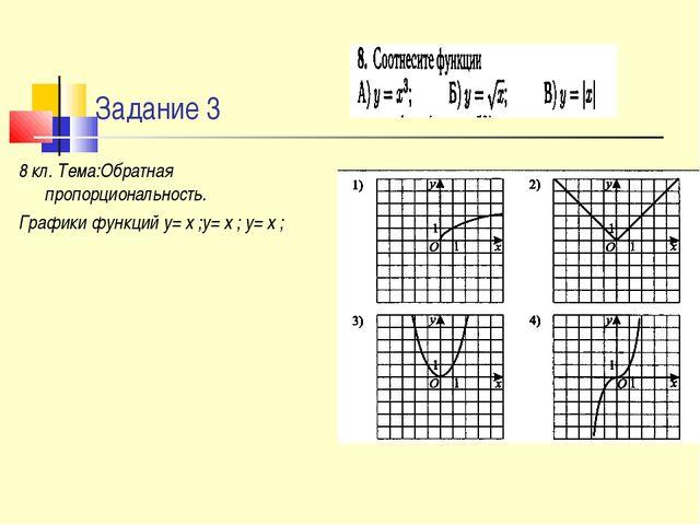 Задание 3 8 кл. Тема:Обратная пропорциональность. Графики функций у= х ;у= х...