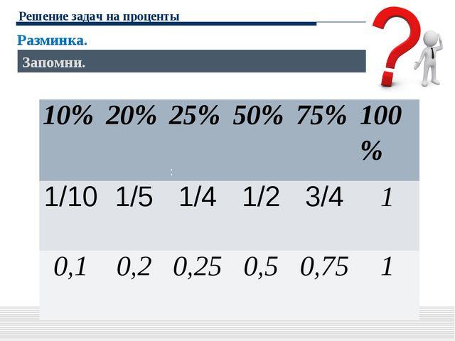 Решение задач на проценты Разминка. : Запомни. 10%20%25%50%75%100% 1/10...
