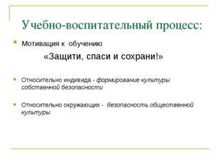 Учебно-воспитательный процесс: Мотивация к обучению «Защити, спаси и сохрани!