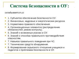 Система безопасности в ОУ: складывается из: 1. Субъектов обеспечения безопасн