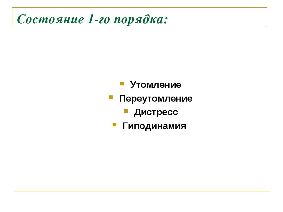 Состояние 1-го порядка: Утомление Переутомление Дистресс Гиподинамия