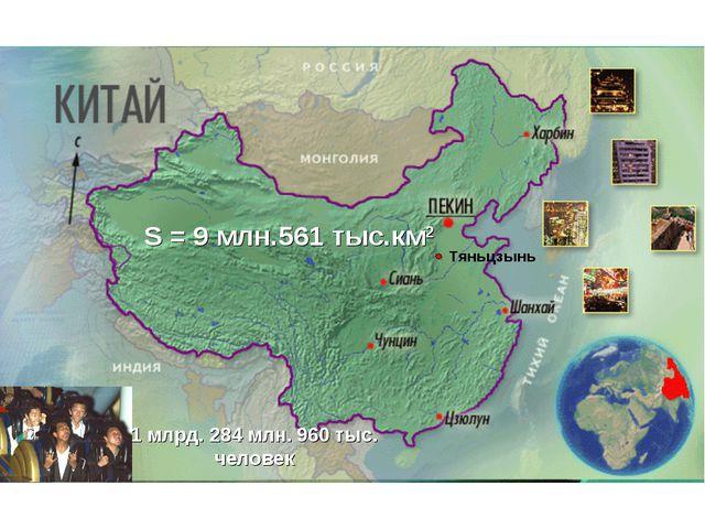 S = 9 млн.561 тыс.км2 1 млрд. 284 млн. 960 тыс. человек Тяньцзынь