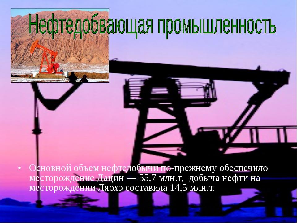 Основной объем нефтедобычи по-прежнему обеспечило месторождение Дацин — 55,7...