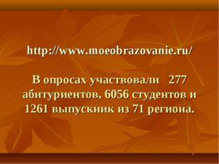 http://www.moeobrazovanie.ru/ В опросах участвовали 277 абитуриентов, 6056 с