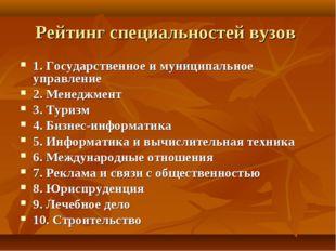 Рейтинг специальностей вузов 1. Государственное и муниципальное управление 2.
